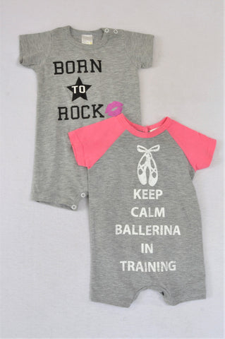Edgars Set Of 2 Grey & Pink Born To Rock & Keep Calm Rompers Girls 3-6 months