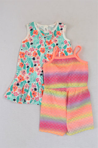 Pep Pack Of 2 Floral Summer Dress And Colourful Mermaid Scale Romper Girls 6-12 months