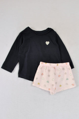 Woolworths Pack Of 2 Heart Detail Navy Long Sleeve T-Shirt & Light Pink Shorts Pyjamas Girls 6-12 months