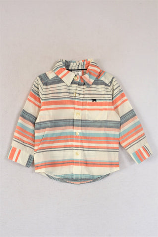 Carter's White Red And Grey Striped Button Up Long Sleeve Shirt Boys 6-12 months