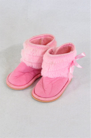 New Ackermans Fluffy Pink With Bows Booties Girls Infant Size 1