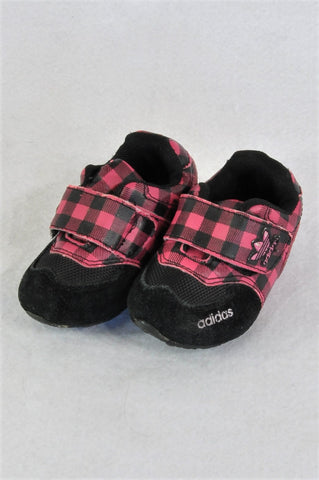 Adidas Black & Pink Checkered Velcro Straps Shoes Girls Toddler Size 4