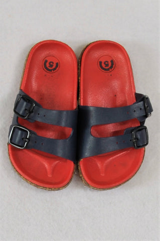 Woolworths Red & Navy Buckle Sandals Unisex Toddler Size 5