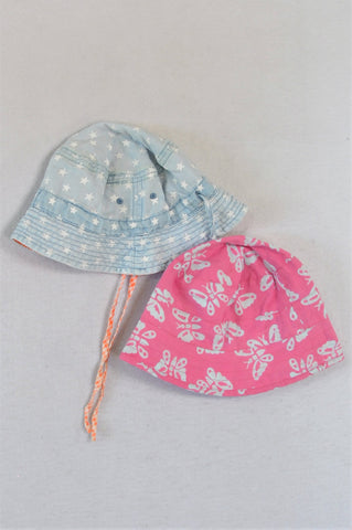 Unbranded Set Of 2 Blue Stars And Pink Butterflies Hat Girls 1-3 years