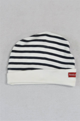 Edgars Black And White Striped Beanie Unisex 3-6 months