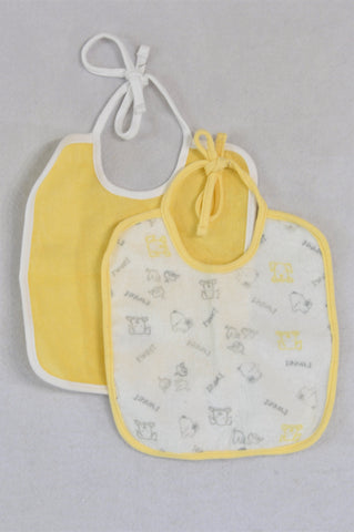 Woolworths Set Of 2 Yellow Bibs Unisex N-B to 2 years