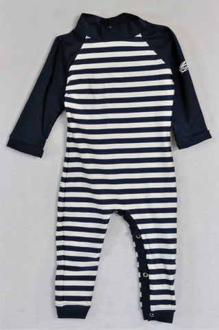 NScessity Navy And White Striped Romper Swimwear Unisex 6-12 months