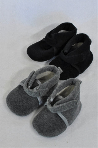 New Pick 'n Pay 2 Pack Grey & Black Soft Soled Booties Unisex Infant Size 1