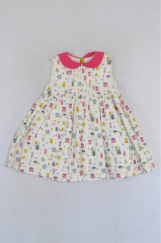 Mamas & Papas White & Pink Houses Half Back Buttoned Dress Girls 12-18 months