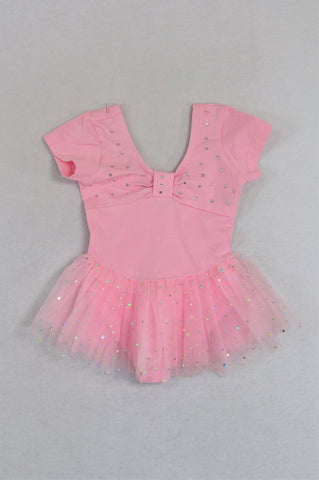 Eafei Pink Diamante Tulle Skirt Leotard Girls 3-6 months