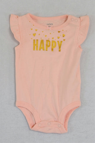 Carter's Pink & Gold Happy Baby Grow Girls 3-6 months