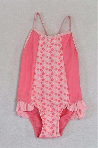 Edgars Pink Flower Strappy Swimming Costume Girls 12-18 months