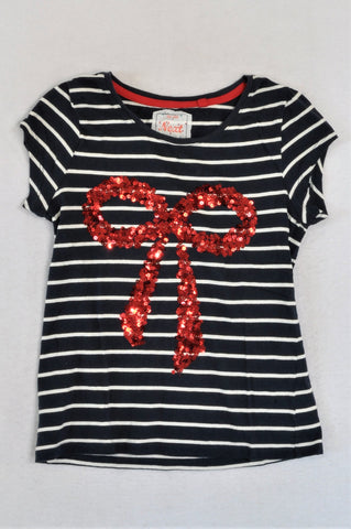 Next Navy & White Striped Red Bow T-shirt Girls 9-10 years