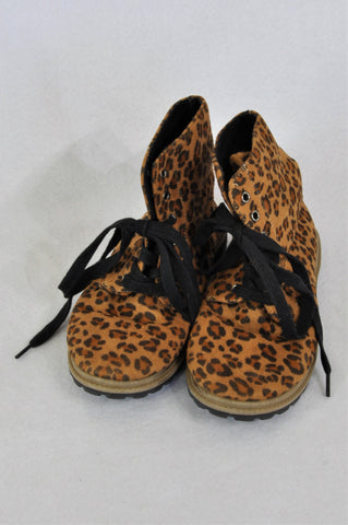 Mr. Price Leopard Print Velour High Top Shoes Girls Youth Size 1