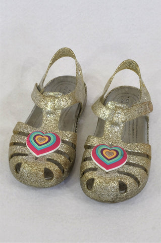 Crocs Glitter With Hearts Gel Sandals Girls Children Size 9