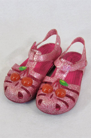 Crocs Pink Glitter Cherry Sandals Girls Children Size 10