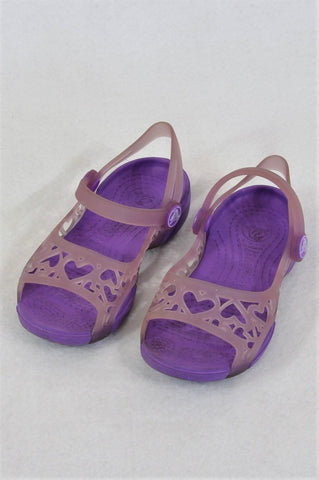 Crocs Purple Heart Sandals Girls Children Size 8