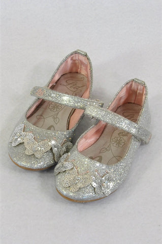 LTD Silver Butterfly Pumps Shoes Girls Children Size 8