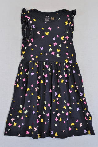 H&M Navy Multi Coloured Butterfly Dress Girls 8-10 years