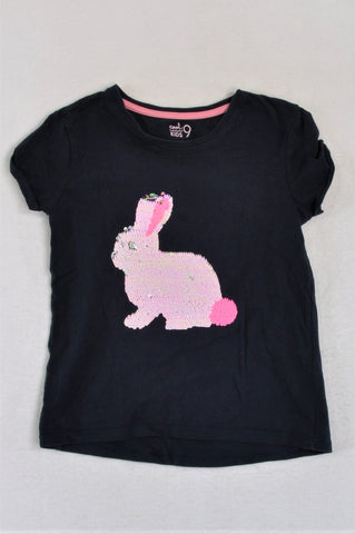 Woolworths Navy Flip Sequin Bunny T-shirt Girls 9-10 years