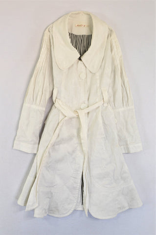 Lisha White Flower Detail Knee Length Coat Women Size 8