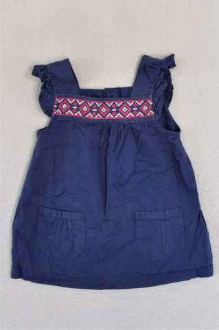 Carter's Blue With White & Pink Embroidery Rear Buttons Top Girls 12-18 months