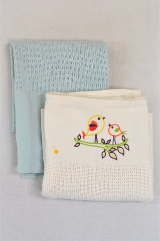 Pack Of 2 Embroidered Ivory & Blue Cellurlar Blankets Unisex N-B to 2 years