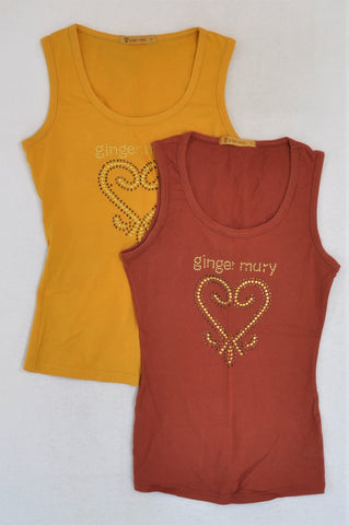 Ginger Mary Set Of 2 Mustard And Brick Red Tank Tops Women Size 32
