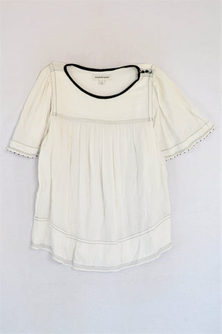 Country Road White With Black Details Blouse Women Size M