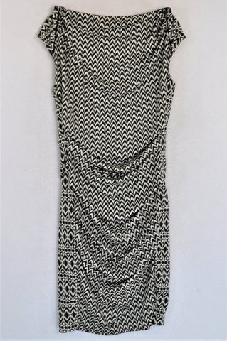 Country Road Black And White Tribal Chevron Knee Length Dress Women Size S