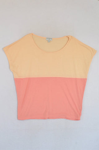 Cotton On Peach & Pink Lightweight Sports T-shirt Women Size S