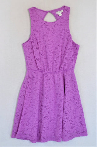 Cotton On Purple Lace Overlay Rear Keyhole Dress Women Size S