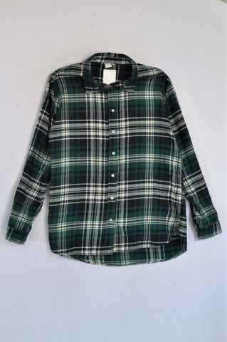 New H&M Green Plaid Flannel Shirt Women Size 12