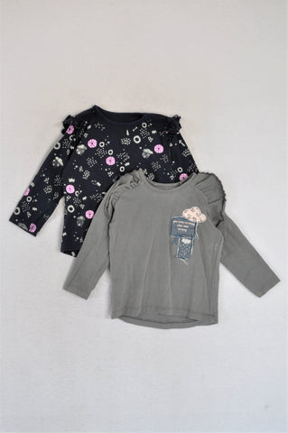 Woolworths Pack Of 2 Grey & Navy Frill Long Sleeve T-Shirts Girls 12-18 months