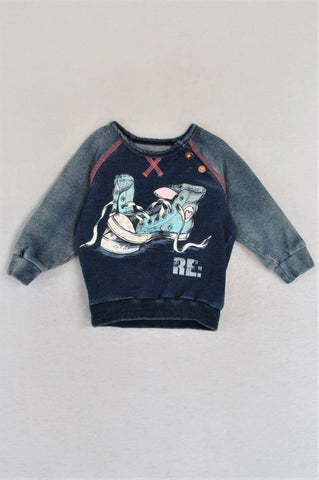 Woolworths Denim Shoe Print Shoulder Buttons Long Sleeve Top Girls 3-9 months