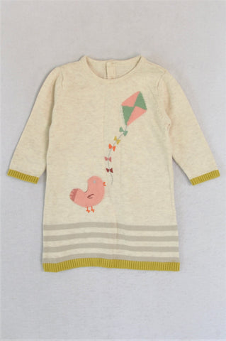 M&S Beige & Pink Bird Rear Buttons Jersey Girls 3-6 months