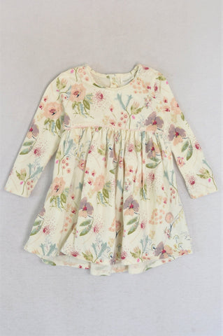 Next Ivory Floral Long Sleeve Rear Buttons Dress Girls 6-12 months