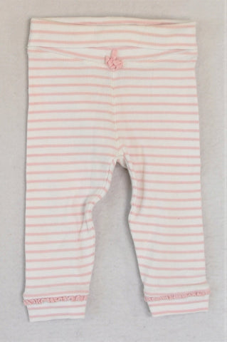 Next White & Pink Striped Ribbed Pants Girls 6-12 months