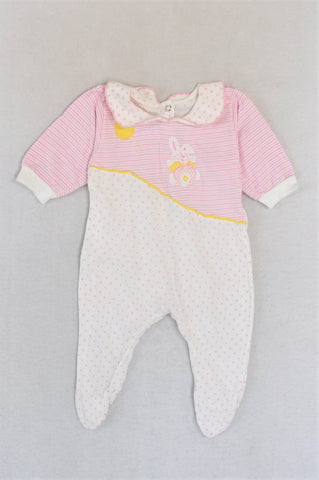 Snugglers Pink & White Footed Three Quarter Sleeve Onesie Girls 0-3 months