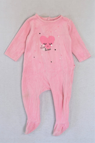 Pink Velour You Are So Loved Long Sleeve Footed Onesie Girls 9-12 months