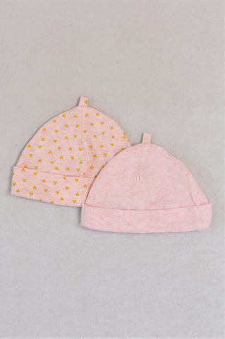 Woolworths Set Of 2 Heathered Pink & Hearts Beanies Girls 6-12 months