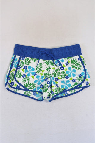 Woolworths White & Blue Floral Swim Shorts Women Size 14
