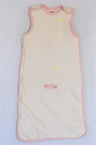 Cotton On White & Pink Chevron Pattern Sleep Sack Girls 1-3 years