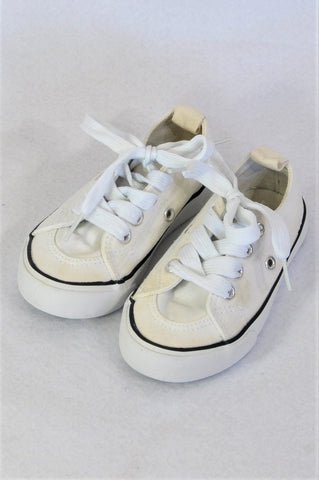 Cotton On White Lace Up Navy Trim Shoes Boys Toddler Size 6