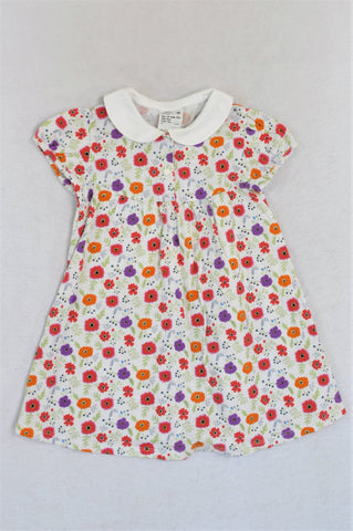 Uniqlo White Floral Collared Dress Girls 18-24 months
