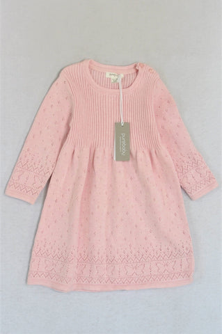New Pure Baby Organic Cotton Pink Long Sleeve Knit Dress Girls 12-18 months