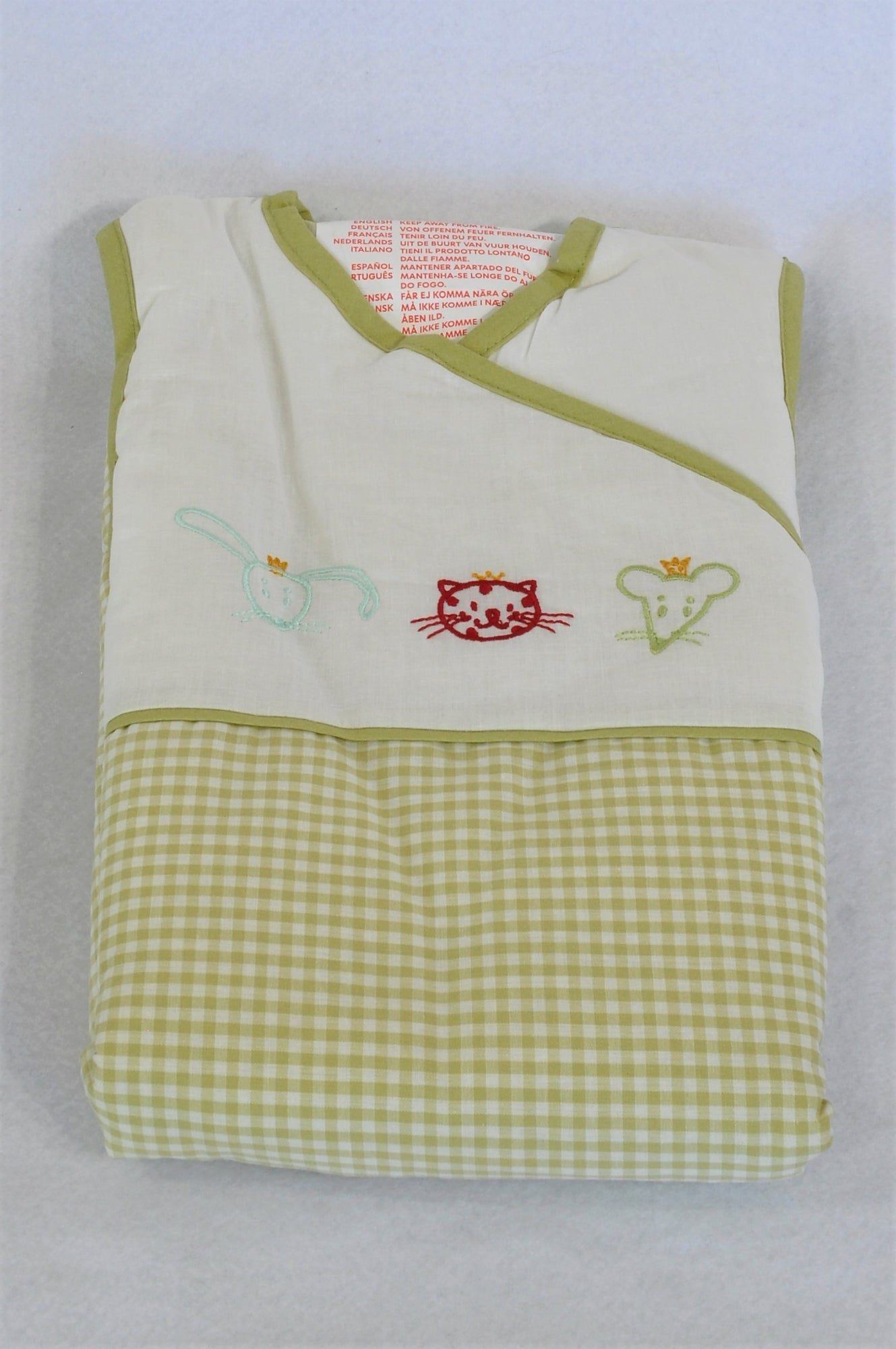 New Ikea Fabler Green Gingham 2.5 Tog Sleep Sack Unisex 0-6 months
