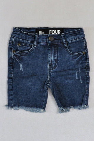 Cotton On Denim Frayed Trim Shorts Boys 3-4 years