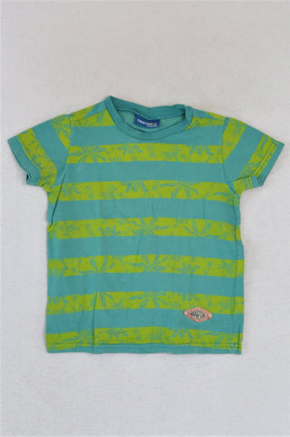 Naartjie Blue & Green Striped Palm Tree T-shirt Boys 2-3 years