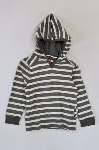 Cotton On Grey Striped With Elbow Patch Lightweight Hoodie Boys 18-24 months